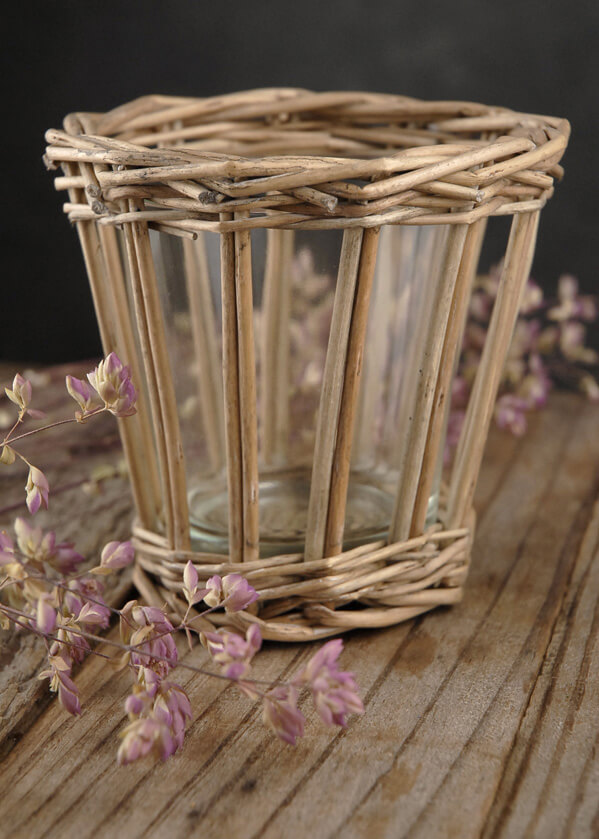 Wicker & Glass 3in Candle Holders