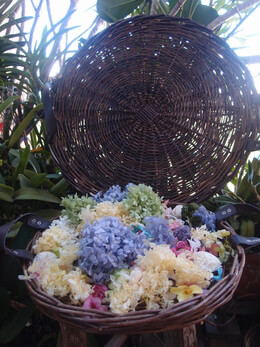 """Wicker Trays 16""""Round with Leather Handles 16 in."""