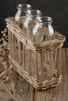 3 Glass Milk Bottles in Willow Basket