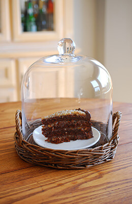 Willow Tray with Glass Cloche 11in
