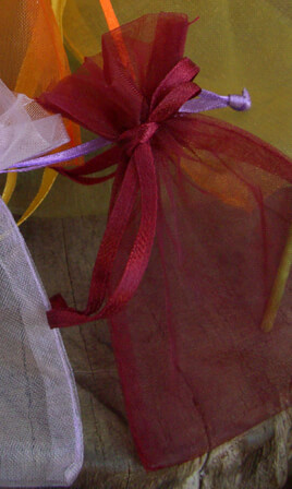 12 Burgundy Wine Organza 3x4 Sheer Favor Bags