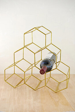Wine Rack Honeycomb Gold 15x14in