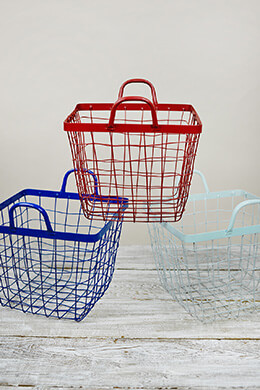 "3 Wire Baskets 12"" Red, White, Blue Americana"