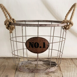 Wire Basket with Rope Handles
