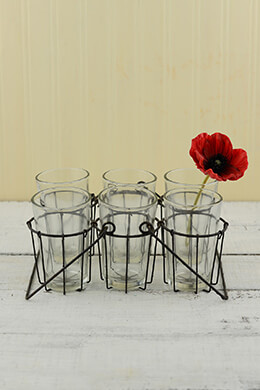 Wire Caddy with 6 Glass Cups