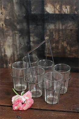 Drinking Glasses with Wire Holder - 6 Glasses