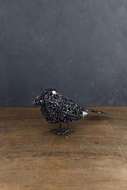 Wire Crow Glittered 9in