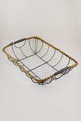 Wire & Wicker Basket 20x14in