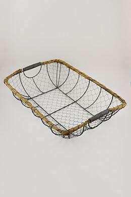Wire & Wicker Basket 20x14in