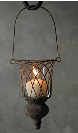 Hanging Wire Candleholder with Finial 13in