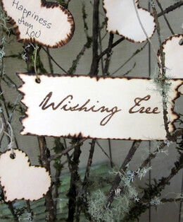 "Handmade ""Wishing Tree""  Wood Sign 5"" x 2-1/4"""