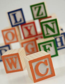 Alphabet Blocks Wood 1.25in | 15 blocks