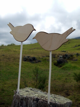 Bird Cake Toppers Wood 4in | Set of 2