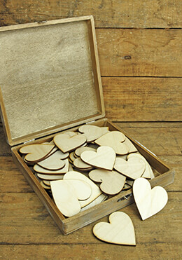 Wood Box with 60 Wood Hearts 8.25in