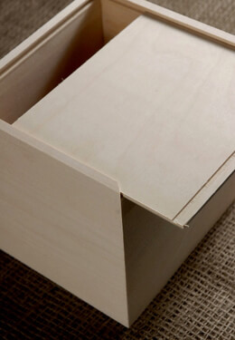Wood Box with Sliding Lid 6in x 6.5in