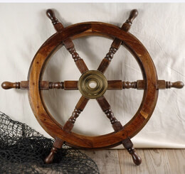 Ship Steering Wheel Wood & Brass 24in