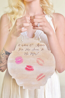 "Wood Bridal Shower Guest Book Alternative ""Wishes & Kisses"""