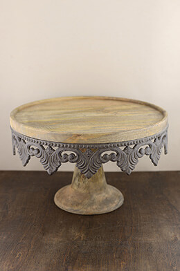 Wood Cake Stand 16x10in