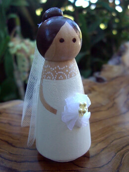 Wood Bride Cake Topper