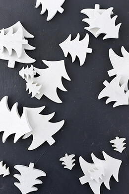 "57 Wood White Painted Christmas Trees Cut Outs 1""- 2 3/4"""
