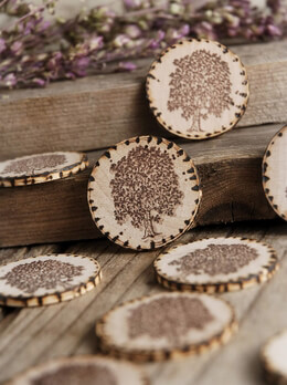 12 Wood Circles with Tree Stamp 1.5