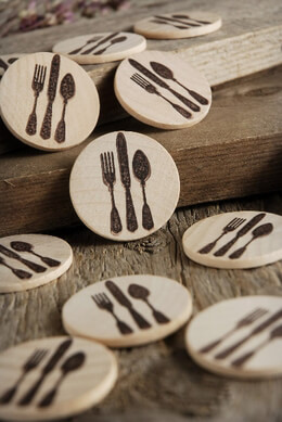 Wood Circles with Silverware Stamps 1.5in | Pack of 12