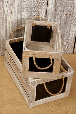 "2 Wood Crates w/ Chalkboard Side Rope Handles 10"" & 13"""
