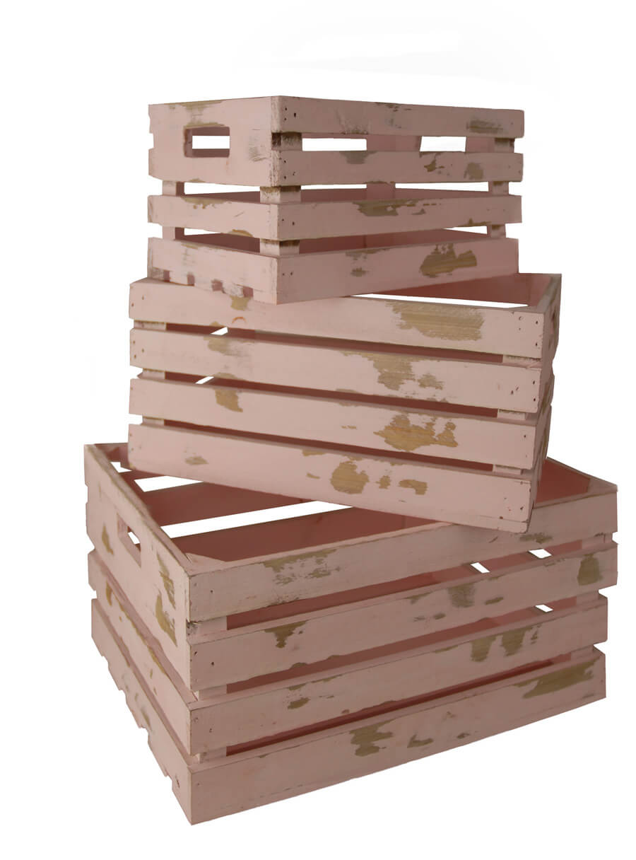 Wood crates pink set of 3 for Craft crates