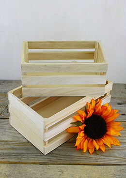Wood Crates Unfinished (Set of 2)