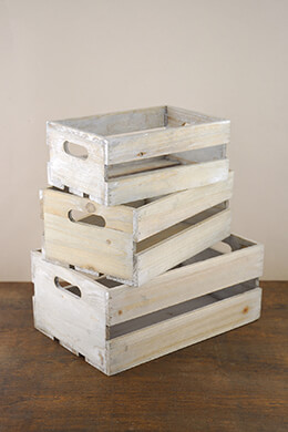 Wood Crates Whitewashed (Set of 3)