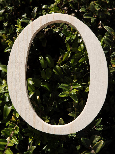 "Wood Greek Letters Omicron Pine 3/4"" thick 5.25"" tall"