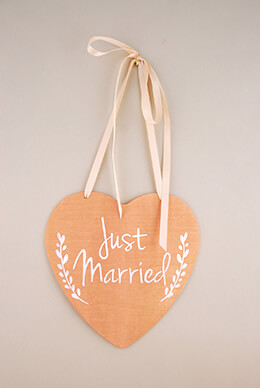 Wood Heart Sign Just Married 8.5in
