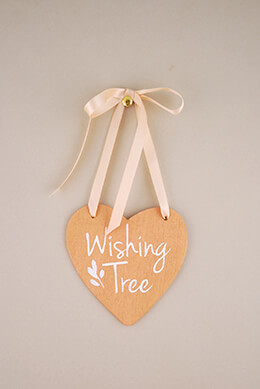 Wood Heart Sign Wishing Tree 4.5in