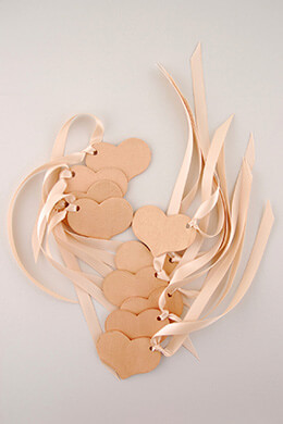 Wood Heart Tags Rose Gold (Pack of 10)