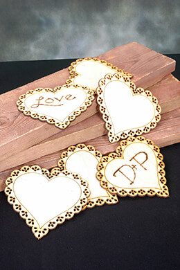 Wood Heart Tags Scalloped 4in (Pack of 6)