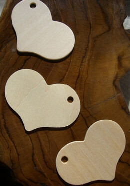 25 Wood Cut Out Hearts 2.5in Pieces w/Holes, Tags