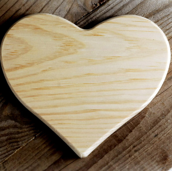 Heart Plaque Wood 6in