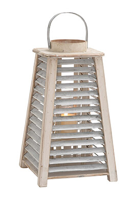 Wood Lantern with Metal Slats 17in