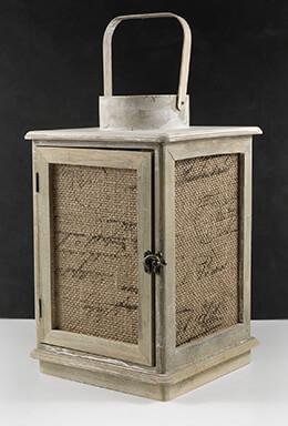 Wood Lantern with Burlap 12in