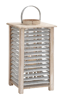 Wood Lantern with Metal Slats Square 17in