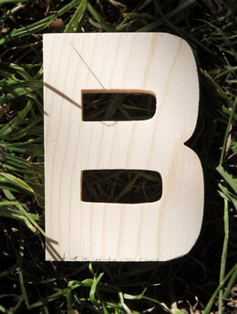 Wood Letter B - 4 inch Pine Letters