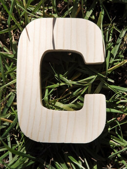 Wood Letter C Pine Letters 4 inch