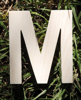 Wood Letter M - 4 inch Pine Letters