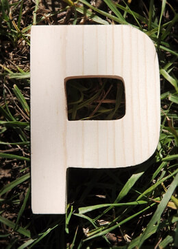 Wood Letter P - 4 inch Pine Letters