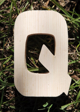Wood Letter Q - 4 inch Pine Letters