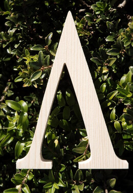 "Wood Letters Greek Lambda 3/4"" thick 6"" tall"