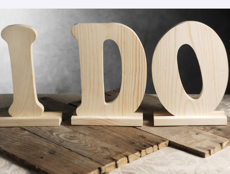 """I DO"" 9in Wood Letters with Stands"
