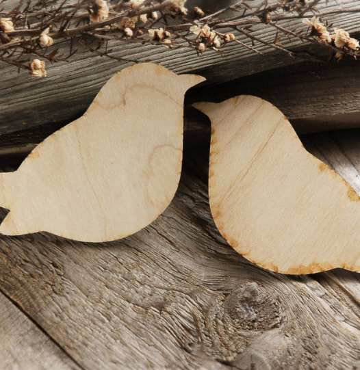 Wood Birds 10in (Set of 2)
