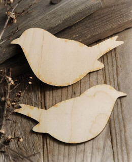Wooden Birds 6in | Set of 2