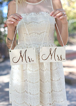 Wood Mr. & Mrs. Chair Signs